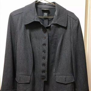 Lane Bryant Grey Jacket Button Classic Collar
